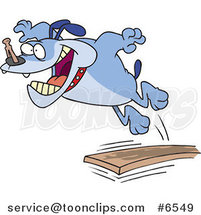 Cartoon Bulldog Jumping off of a Diving Board by Ron Leishman