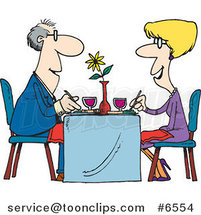 Cartoon Couple Dining at a Restaurant by Ron Leishman