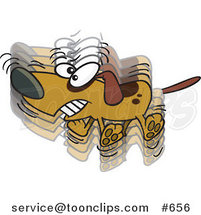 Cartoon Hyper Dog Wagging His Tail by Ron Leishman