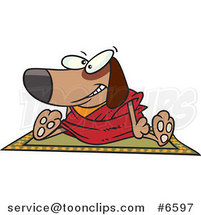 Cartoon Doggie Lama Sitting on a Rug by Ron Leishman
