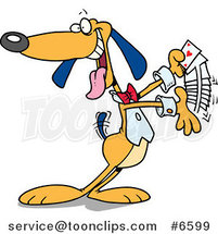 Cartoon Dog Shuffling Playing Cards by Ron Leishman