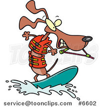 Cartoon Wakeboarding Wiener Dog by Ron Leishman