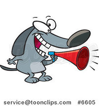 Cartoon Dog Using a Megaphone by Ron Leishman