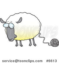 Cartoon Sheep Connected to Yarn by Ron Leishman