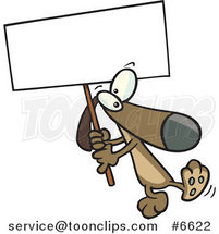 Cartoon Dog Carrying a Sign by Ron Leishman
