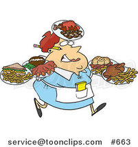 Cartoon Fat Female Waitress Carrying Many Plates by Toonaday