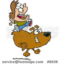 Cartoon Boy Riding a Dog by Ron Leishman