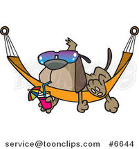 Cartoon Dog Lounging on a Hammock by Ron Leishman