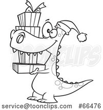 Cartoon Black and White Dinosaur Wearing a Santa Hat and Carrying Christmas Gifts by Toonaday