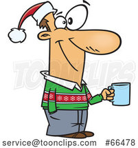 Cartoon Guy Wearing a Christmas Sweater and Santa Hat and Holding a Coffee Cup at a Party by Toonaday