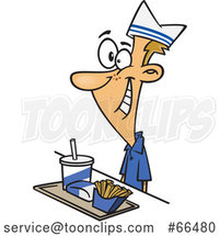 Cartoon White Fast Food Worker Guy with a Tray of Food at a Counter by Toonaday