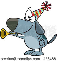 Cartoon New Years Dog Blowing a Horn by Toonaday