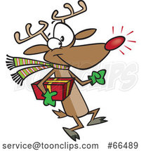 Cartoon Rudolph Reindeer Carrying a Christmas Present by Toonaday