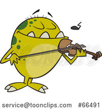 Cartoon Monster Playing a Violin by Toonaday