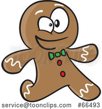 Cartoon Gingerbread Guy Running by Toonaday