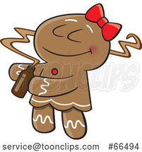 Cartoon Gingerbread Lady Smelling a Fragrance by Toonaday
