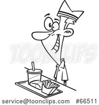 Cartoon Black and White Fast Food Worker Guy with a Tray of Food at a Counter by Toonaday