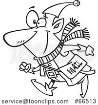 Cartoon Black and White Christmas Elf with a Mail Pouch by Toonaday