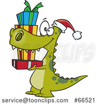 Cartoon Dinosaur Wearing a Santa Hat and Carrying Christmas Gifts by Toonaday