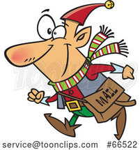 Cartoon Christmas Elf with a Mail Pouch by Toonaday