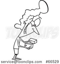 Cartoon Black and White Lady Enthused About a Gift by Toonaday