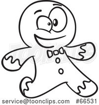 Cartoon Black and White Gingerbread Guy Running by Toonaday
