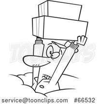 Cartoon Black and White Dedicated Delivery Guy Holding up Boxes in the Snow by Toonaday