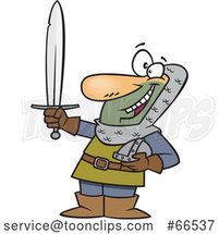 Cartoon Castle Guard Holding a Sword by Toonaday