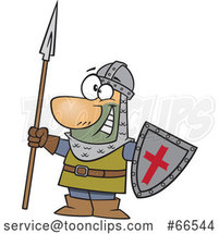 Cartoon Castle Guard Holding a Spear and Shield by Toonaday
