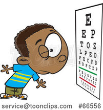 Cartoon Boy Reading an Eye Chart During an Exam by Toonaday