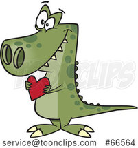Cartoon Sweet Dinosaur Holding a Valentine Love Heart by Toonaday