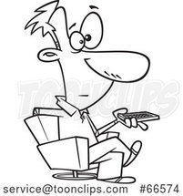 Cartoon Black and White Guy Holding a Remote Control and Sitting in a Swivel Chair by Toonaday