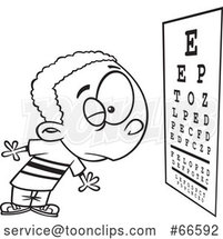 Cartoon Outline Boy Reading an Eye Chart During an Exam by Toonaday