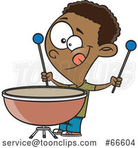 Cartoon Black Boy Playing a Kettle Drum by Toonaday