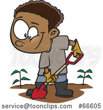 Cartoon Black Boy Digging in a Garden by Toonaday
