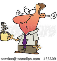 Cartoon White Businessman Steaming After Drinkng Hot Coffee by Toonaday