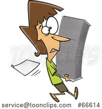 Cartoon White Lady Carrying a Stack of Paperwork by Toonaday