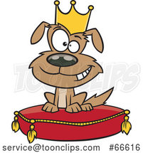 Cartoon Pampered Dog Wearing a Crown and Sitting on a Pillow by Toonaday
