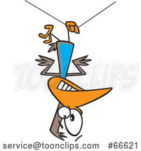 Cartoon Clumsy Bird Hanging Upside down from a Wire by Toonaday