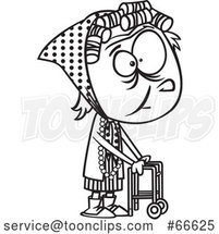 Lineart Cartoon Senior Girl Using a Walker by Toonaday