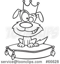 Lineart Cartoon Pampered Dog Wearing a Crown and Sitting on a Pillow by Toonaday