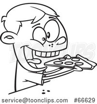 Lineart Cartoon Boy Enthusiastically Eating Pizza by Toonaday