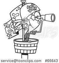 Lineart Cartoon Boy Pirate Using a Telescope in a Crows Nest by Toonaday