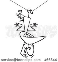 Lineart Cartoon Clumsy Bird Hanging Upside down from a Wire by Toonaday