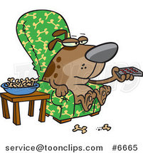 Cartoon Dog Munching on Bones and Watching Tv by Ron Leishman