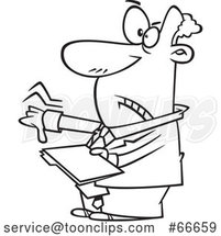 Cartoon Black and White Businessman Giving a Thumb down and Holding a Folder by Toonaday