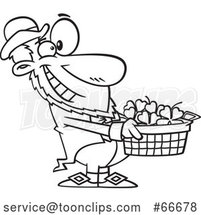 Cartoon Black and White Leprechaun Holding out a Basket of St Patricks Day Shamrocks by Toonaday