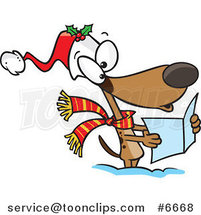 Cartoon Dog Singing Christmas Carols by Ron Leishman