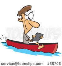 Cartoon White Guy Streaming Videos on His Tablet While Floating in a Boat by Toonaday