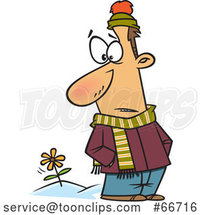 Cartoon White Guy in Winter Clothes, Seeing a Spring Flower by Toonaday